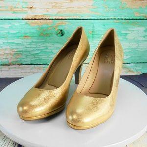 Naturalizer Michelle Gold Leather Pumps Size 8 M